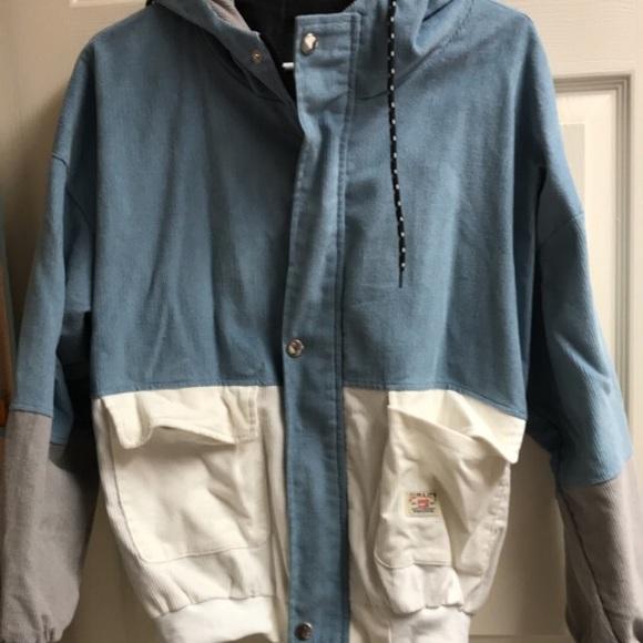 Zaful Jackets Coats Contrast Corduroy Drawstring Hoodie Poshmark